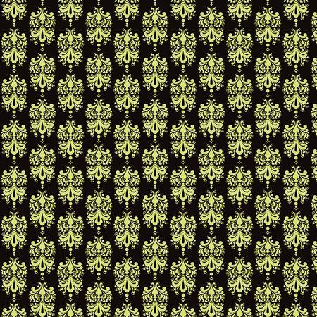 Black   Light Yellow Damask Paper
