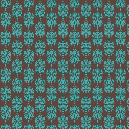 Brown   Light Blue Damask Paper