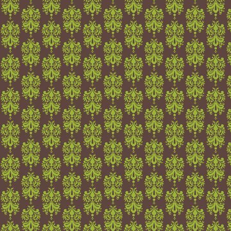 Brown   Lime  Damask Paper