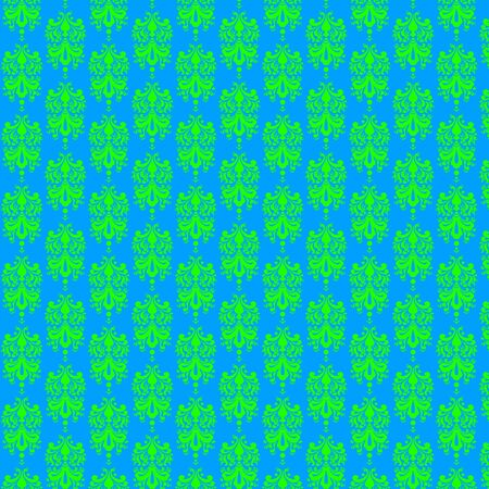 Fluorescent Blue   Green  Damask Paper