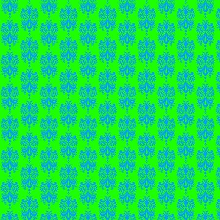 Fluorescent Green   Blue Damask Paper