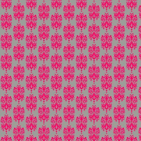 Gray   Hot Pink Damask Paper