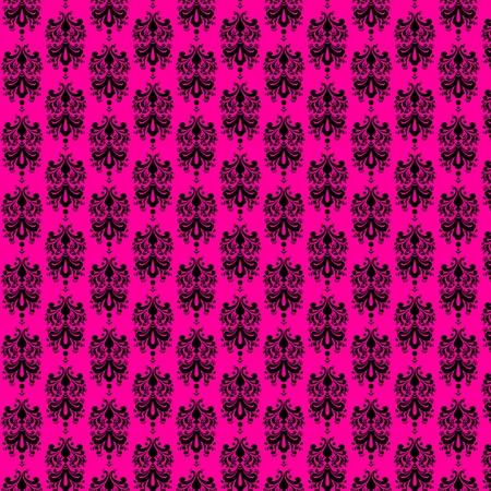 Hot Pink   Black Damask Paper