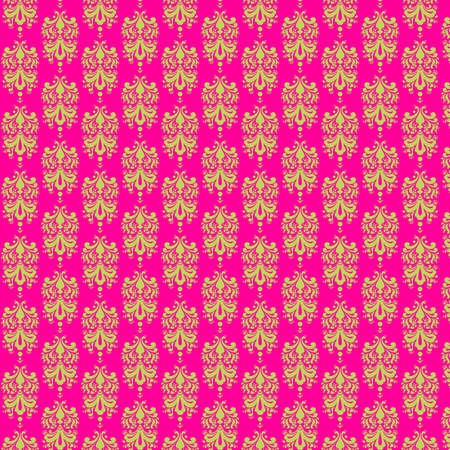 Hot Pink   Lime Damask Paper