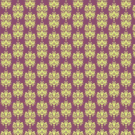 Purple   Light Yellow Damask Paper