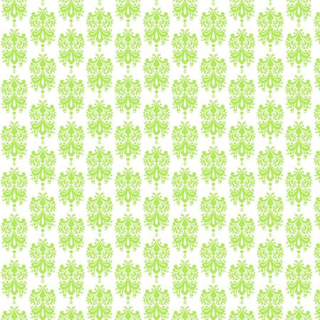 White   Lime Damask Paper