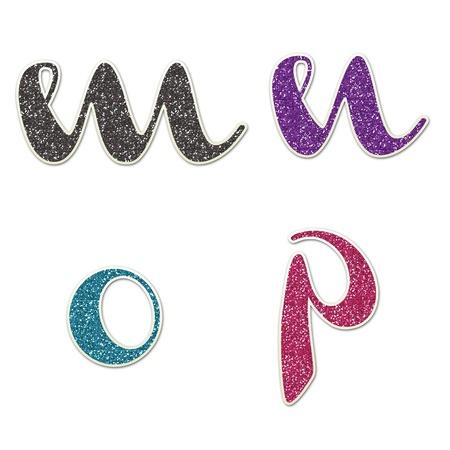m to p Lowercase Glitter Hand Banco de Imagens