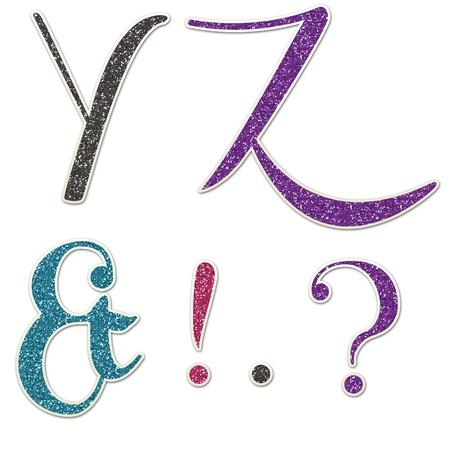uppercase: Y   Z Uppercase Glitter Hand