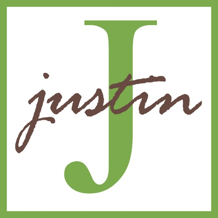 Justin Naam Mongram Stockfoto