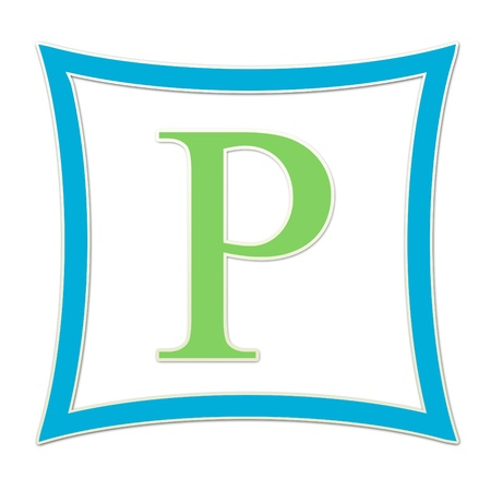P  Monogram Blue and Green
