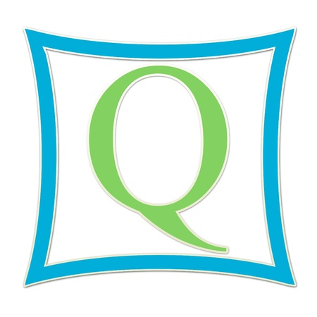 Q  Monogram Blue and Green