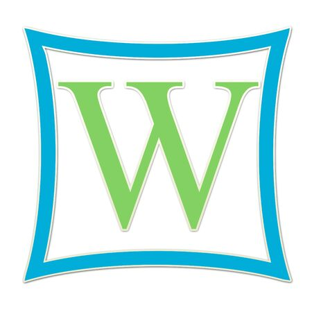 W  Monogram Blue and Green