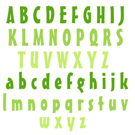 Clean Alphabet Set - Greens