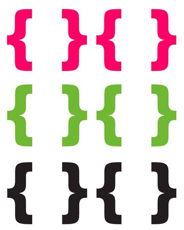 Chunky Pink Green   Black Brackets