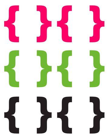 Chunky Pink Green   Black Brackets Stock fotó - 14872535