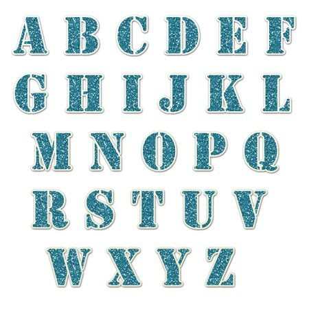 Blue Glitter Alphabet Stencil Stock Photo