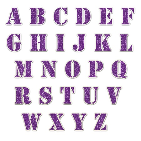 Purple Glitter Alphabet Stencil Stock Photo