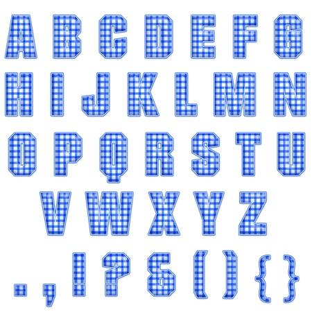 Blue Plaid Alphabet