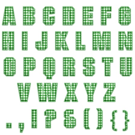 Green Plaid Alphabet Stock Photo