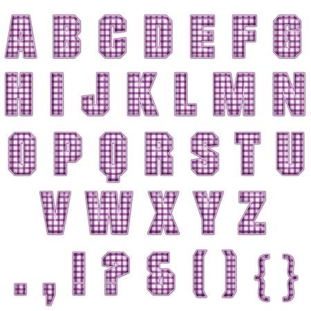 Purple Plaid Alphabet Stock fotó - 14872612