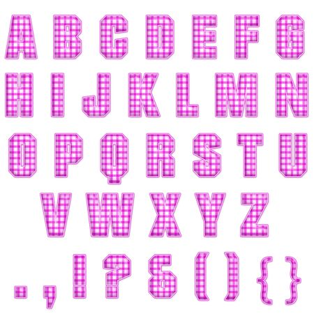 Pink Plaid Alphabet Stock Photo