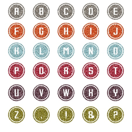 Multi-Color Glitter Round Alphabet