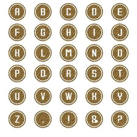 Leopard Round Alphabet Stok Fotoğraf