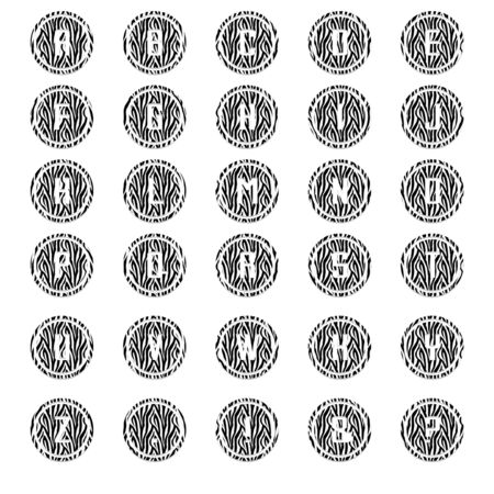 Zebra Round Alphabet Stock Photo