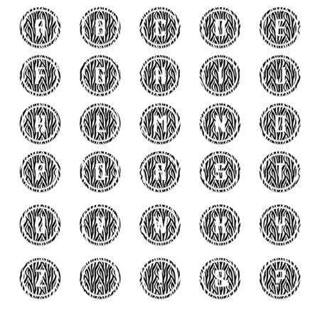 Zebra Round Alphabet Stok Fotoğraf