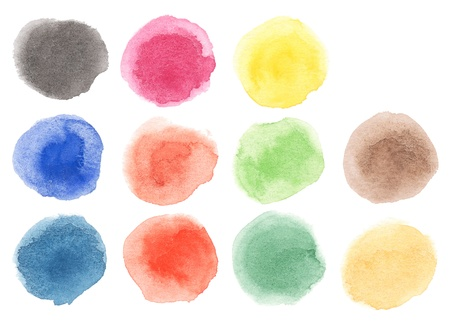 blobs: Watercolor hand painted multicolor dots  Isolated  Made myself