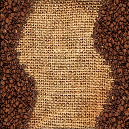 High detailed texture of a burlap material and coffee beans, perfect fot text copy space Stock Photo - 13446200