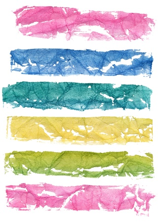 Set of multicolor hand-painted watercolor banners on rough  crumpled paper with different crease patterns photo