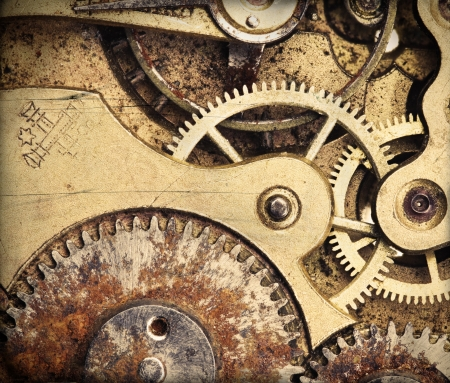 Close-up of old vintage pocket clock mechanism, added grunge texture
