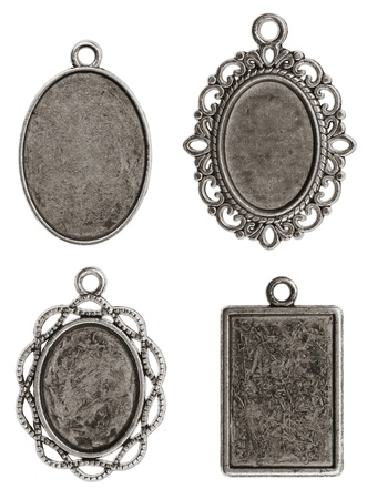Four isolated pendants medallions Stok Fotoğraf