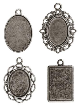 Four isolated pendants medallions Stock Photo