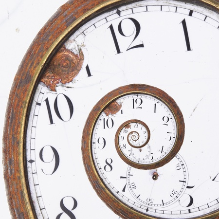 Close-up of a vintage Rusty clock swirl photo
