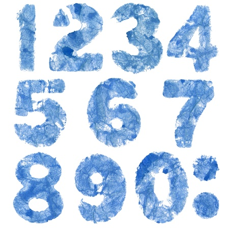 Watercolor number set stamped on rough textured crupled paper, isolated  Made myself