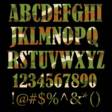 Military camouflage textured ABC containing letters, numbers, signs and symbols isolated on black background
