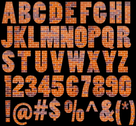Brick textured ABC containing letters, numbers, signs and symbols isolated on black background Standard-Bild