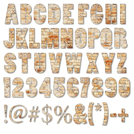Brick textured ABC containing letters, numbers, signs and symbols isolated on white Stok Fotoğraf