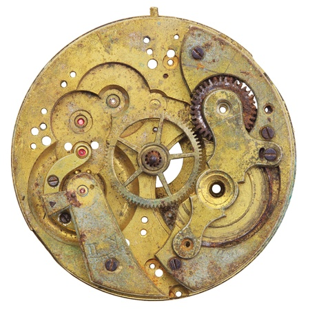 Close-up of a vintage rusty clock, isolated