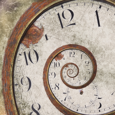 imaginacion: Primer plano de un reloj remolino Rusty vendimia Foto de archivo