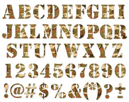 Military camouflage textured ABC containing letters, numbers, signs and symbols isolated on white