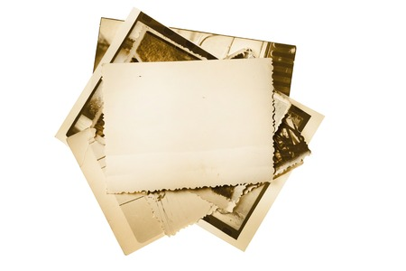 Vintage photo stack isolated on white Standard-Bild