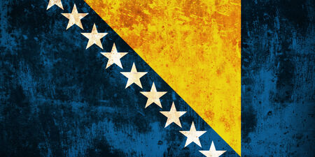 bosnian: Grunge flag of European country Bosnia and Herzegovina