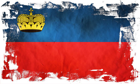 Grunge flag of European country Liechtenstein photo