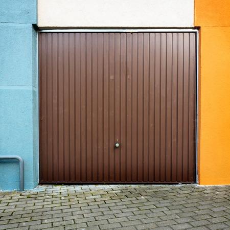 Garage door of an apartament building photo