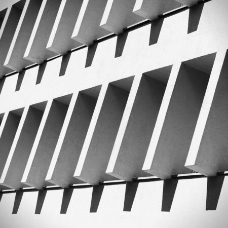 Interesting architectural detail with concrete sunshades Stock Photo