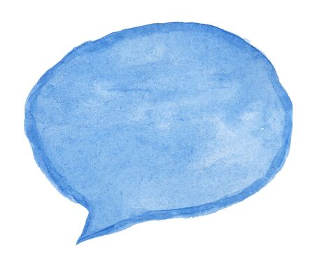 bubble talk: Hand painted talk bubble painted on textured watercolor paper, isolated