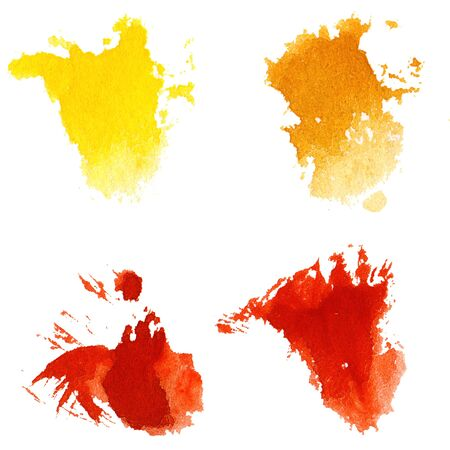 Watercolor hand painted multicolor brush strokes. Isolated. Made myself. Stock Photo